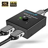 Fosmon 2-Port HDMI 2.0 Switch 4K 60Hz,  2x1 / 1x2 Bi-Directional HDMI Switcher UHD 4Kx2K 3D HD 1080p HDCP, 2 Input 1 Output Splitter Hub Compatible with HDTV, PS4, Xbox One, Apple TV, Roku, Fire Stick