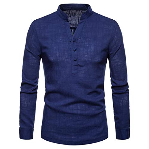 kaifongfu Henry Tops,Men's Plus Size Linen Long Sleeve Shirt for Autumn and Winter (Navy,2XL) ()