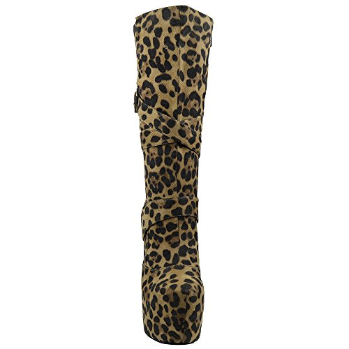 Womens Mid Calf Boots Strappy Buckles Platform Sexy High Heels Booties Leopard nBTOt8