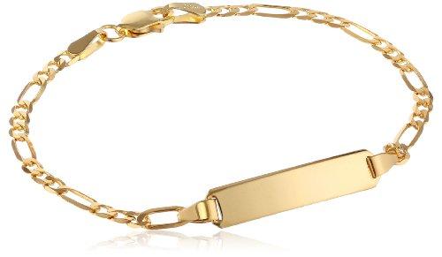14k Yellow Gold Figaro Baby ID Bracelet, 6″