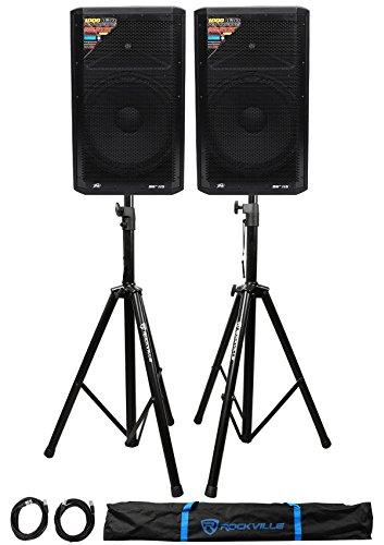 (2) Peavey DM 115 15'' 1000W Powered PA Speakers+Stands+Cables+Bag by Peavey