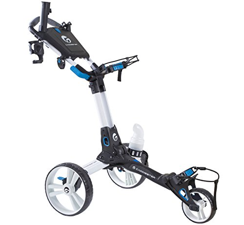Caddiester X1-EP Quick-Fold Deluxe 3 Wheels Golf Push Cart (White) (Golf Pull Cart Deluxe)