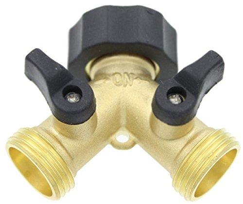 Flexible Hose Connector/ Garden Hose Splitter: 2 Way by Careful Gardener - Heavy Duty Water Shut Off Valve - Solid Brass Garden Hose Faucet Adapter (Nelson Dual Adapter)