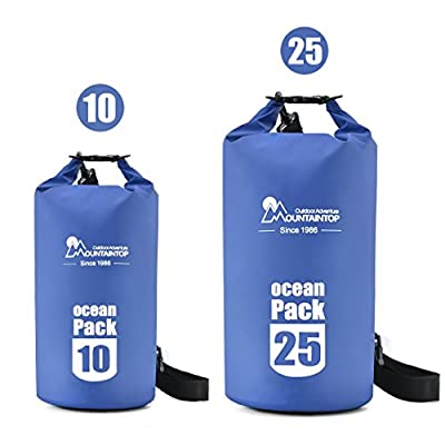 Mountaintop 10L/25L Waterproof Dry Bag Floating Gear Bags for Boating,Kayaking,Fishing,Beach,Rafting,Swimming,Camping,Canoeing and Snowboarding with 2 Shoulder Straps