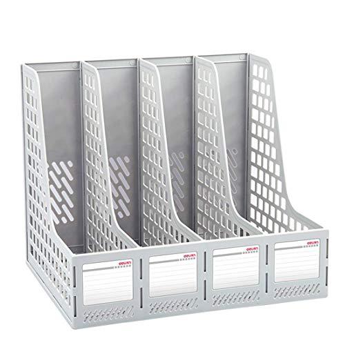Plastic Magazine Holder Bracket Desktop Triple/Quad File Divider File Cabinet Rack Display Storage Box Gray Blue (Color : Gray, Size : B-File holder2)