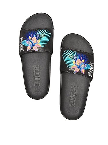 Victorias Secret Pink Single Strap Slides Sandals  Tropical  Small