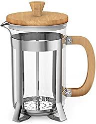 Vremi French Press Coffee Maker - 8 Cup Glass Coffee Press Stainless Steel Base - 34 oz Tea Press Pot Bamboo Top and Handle - 1 Liter Coffee Presser in Premium Heat Resistant Borosilicate Glass by Vremi
