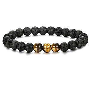 Thunaraz 8mm Men's Bracelet Diffuser Bracelet Lava Rock Braided Rope Natural Stone Bracelet Gifts for Men