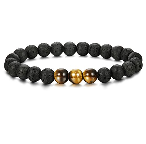 Thunaraz 8mm Black Bead Bracelet Elastic Natural Stone Tiger Eye Stone Bracelet Adjustable Lava Black Stone Eye