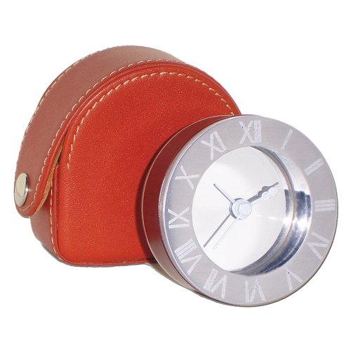 NATICO Metal and Wood Alarm Clock In Leather Case (10-83232)