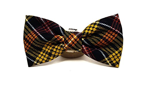Harvest Plaid - Black Orange Yellow Thankgiving Preppy Plaid Vintage Hand-crafted Bow Tie for a Dog or Cat Collar - Bowtie only - Handmade in the (Preppy Cat Collar)