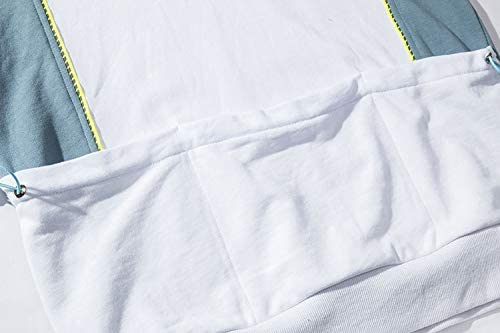 YDMZMS Herren Hoodie Farbblock Patchwork Pullover mit Kapuze Sweatshirts Mens Casual Hoodies tragen Mode Outwear Tops XL Weiß