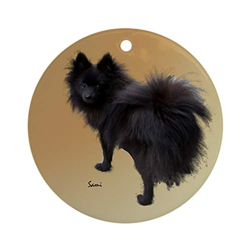 CafePress Black Pomeranian Ornament (Round) Round Holiday Christmas Ornament