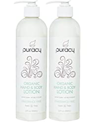 Puracy Organic Hand & Body Lotion (2-Pack), Fragrance Free Unscented Natural Moisturizer, 12 Ounce