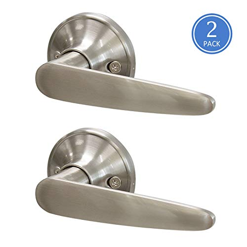 Knobonly Satin Nickel Finish Door Levers Straight Handle Single Side Keyless Non-Locking Function Pull/Push 2 Pack