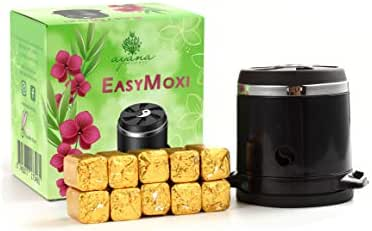 EasyMoxi – Safe and Easy Moxibustion – Chinese Medicine Herbal Treatment – Relief for Period Pain and Cramps, Knee Pain, Back Pain and More – Three Temperature Settings - with 10 Moxa Stick Refills