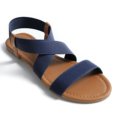Soles & Souls Women Flat Sandals Criss-Cross Open Toe Wide Elastic Strap Fashion Summer Shoes, Blue 09