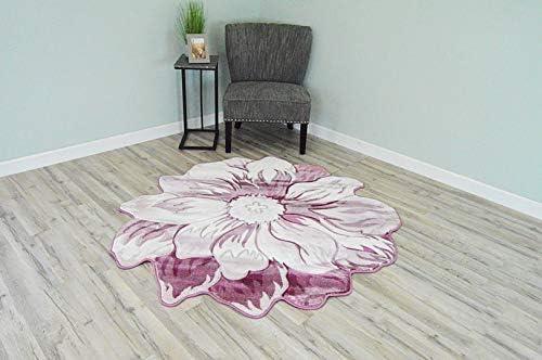 Flowers 3D Effect Hand Carved Thick Artistic Floral Flower Rose Botanical Shape Area Rug Design 305 Pink 5 3 x5 3 Round