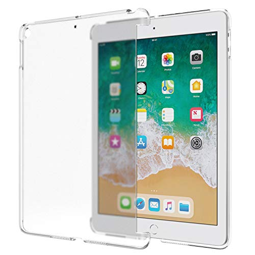 (MoKo Fit 2018/2017 iPad 9.7 6th/5th Generation - Frosted Transparent Slim Hard Plastic Protector Back Cover Fit Apple iPad 9.7 Inch 2018/2017 [Compatible with Official Smart Cover] - Clean Clear)