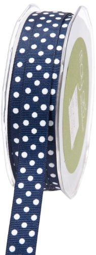 Blue Polka Dot Grosgrain Ribbon - May Arts 5/8-Inch Wide Ribbon, Navy Grosgrain Polka Dot