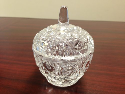 Fuji Premium Crystal Apple Shaped Glass Dappen Dish Holder with Lid Or Small Accessories Jewelry Holder. Design Unique & Best For Gift.