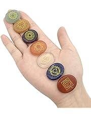 Kryształy energii, zestaw 7 kamieni czakry, kryształy lecznicze do prezentów z symbolami czakry, naturalny kamień agatowy