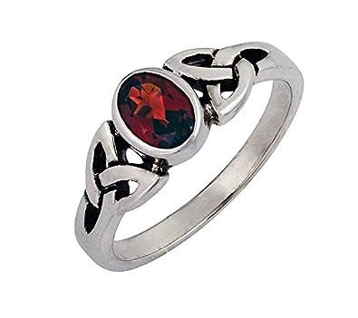 Garnet & 925 Sterling Silver Ring Celtic Trinity Knot Design QqaCBV