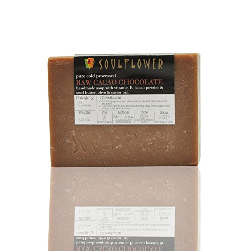 Soulflower Indian Raw Cacao Chocolate Soap,100% Natural, Organic, Handmade & Coldprocessed, USFDA approved, SLS Free, Moisturizes Skin, Vegan, Indian Formulation, 5.3oz x 2 bars