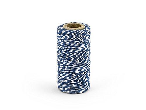 Bakers Twine 50 m Rolle B/äckergarn Baumwoll Garn Deko Schnur Kordel farbig Geschenkband Packband dunkelblau // wei/ß