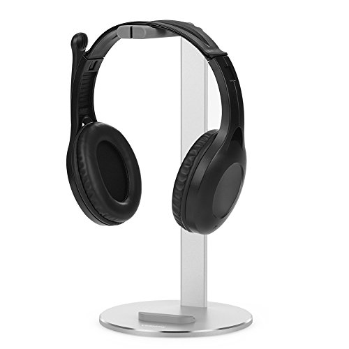 Headphone Stand- VESHOW Aluminum Gaming Headset Stand Headphone Holder Headset Holder Headset Hanger Earphone Stand Gaming Headphone Stand Holder with Cellphone Stand and Cable Organizer - Silver Headphones Silver Headphones