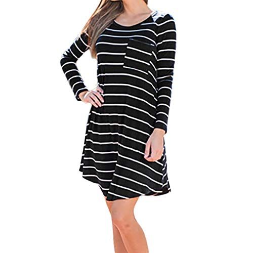 Women's Autumn Warmer Fashion Long Sleeve O-Neck Striped Dress T Shirt Blouse Tops Pocket (L, Black) by Appoi Women T Shirt Blouse Tops