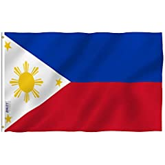 Philippines Polyester Flag by ANLEY - Vivid Color and UV Fade Resistant - Canvas Header and Double StitchedQuality MaterialMade of durable polyester. Double stitched all around the edge and strengthened by canvas header and two brass grommets...