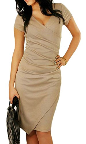 Sexy Coffee Irregular Womens Color V Bodycon Office Dress Pencil Pure Cromoncent Neck wAPq44