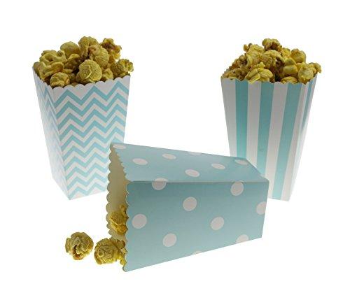 Bilipala Blue Chevron Stripe and Polka Dot Paper Movie Popcorn Favor Boxes, 36 Counts