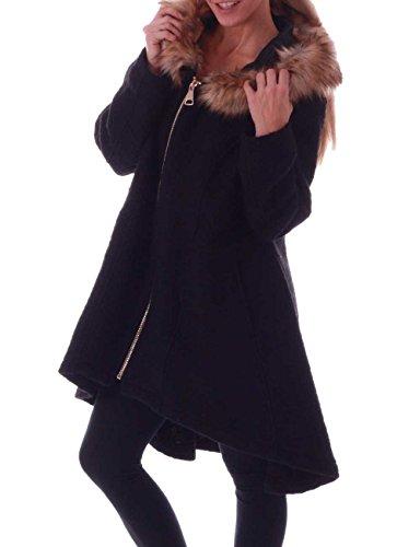 Schief zip mittellang damen mantel mit kapuze