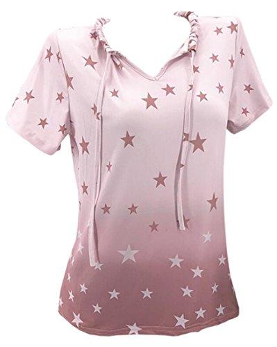 Yaolor-Mujer Holgado Cuello en V Estrella Impresión Casual Algodón Manga Corta, Rosado, US XS