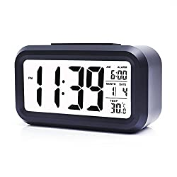 Alarm Clock,Travel Alarm Clock,Battery Operated Smart Backlight Morning Clocks for kids/the aged/pets, Large LCD Display Slim LED Clock (with Date,Temperature,Snooze), for Office Bedroom Travel(Black)