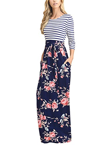 MEROKEETY Women's Striped Floral Print 3/4 Sleeve Tie Waist Maxi Dress With Pockets