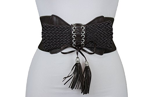 TFJ Women Fashion Wide Corset Belt Elastic High Waist Gold Plus M L XL Black