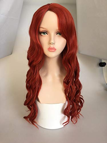 SinRain Women Girs' Red Long Wave Wig Halloween Movie Role Cosplay Hair -