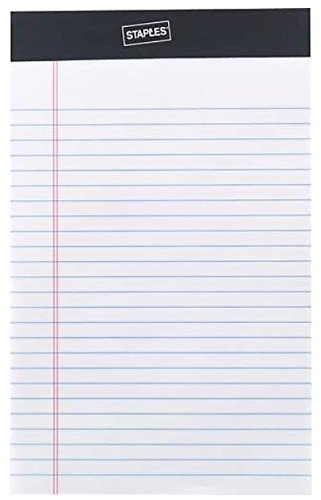 Staples Perforated Notepad, Narrow Ruled, White, 5