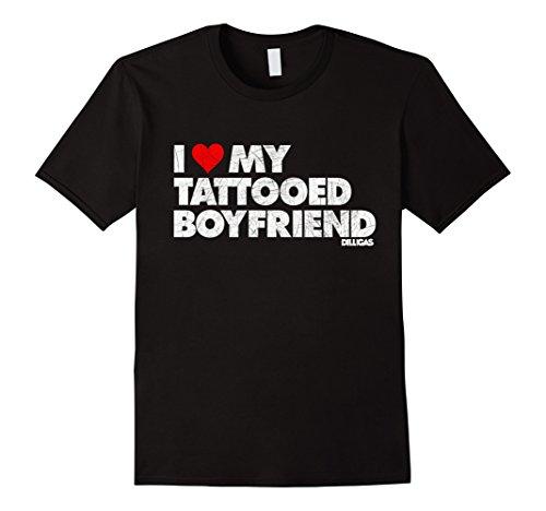 Men's I Love My Tattooed Boyfriend Shirt Vintage Distressed Large Black
