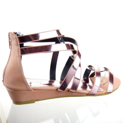 Kickly-Scarpe sportive donna sandalo infradito Spartiates caviglia flashy i tacchi, 3,5 CM, colore: rosa