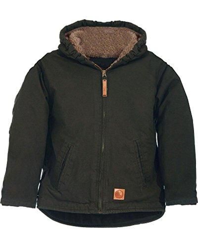 Berne Boys' Washed Sherpa-Lined Hooded Jacket Olive Green Medium ()