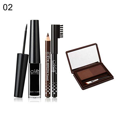 Kekailu Liquid Eyeliner Eyebrow Pencil Dual Color Brow Powder Set Waterproof Cosmetic 02