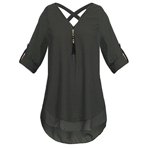 3 Chiffon T donna Manica Cerniera V Shirt T Sysnant donna Tinta con Maglietta a Camicetta con di Unita Elegante scollo profondo Nero Top Blusa da Donna shirt Donna 4 Corta Moda qqrwEcWR6