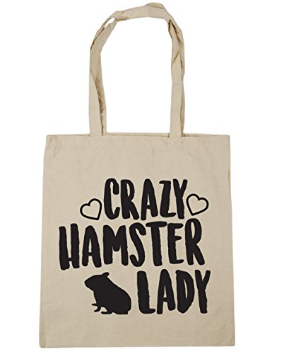 hamster Crazy Beach Tote Bag x38cm 42cm 10 litres Natural Gym HippoWarehouse Shopping lady 6q56nC