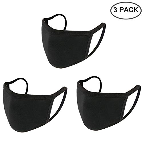 Yoodelife 3 Pcs Anti-dust Black Mouth Mask, Unisex Cotton Face Mask Muffle Mask for Cycling Camping Travel for Adults Men Women, Pack of 3