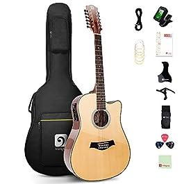Vangoa 12 String Gutiar, Acoustic-electric Cutaway Dreadnought Guitar Bundle, Spruce Top, Sapele Body, Bone Nut, Natural…