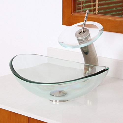 ELITE Unique Oval Clear Tempered Bathroom Glass Vessel Sink & Brushed Nickel Waterfall Faucet Combo